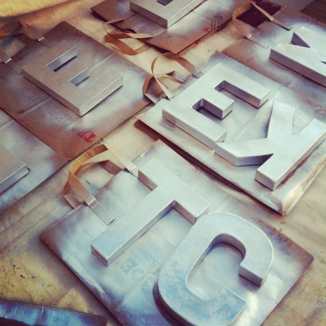 i diy'd my own metal letters... i'll show you what they spell soon enough :)