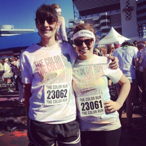 i ran my first 5k the color run! isn't my friend leigh cute?